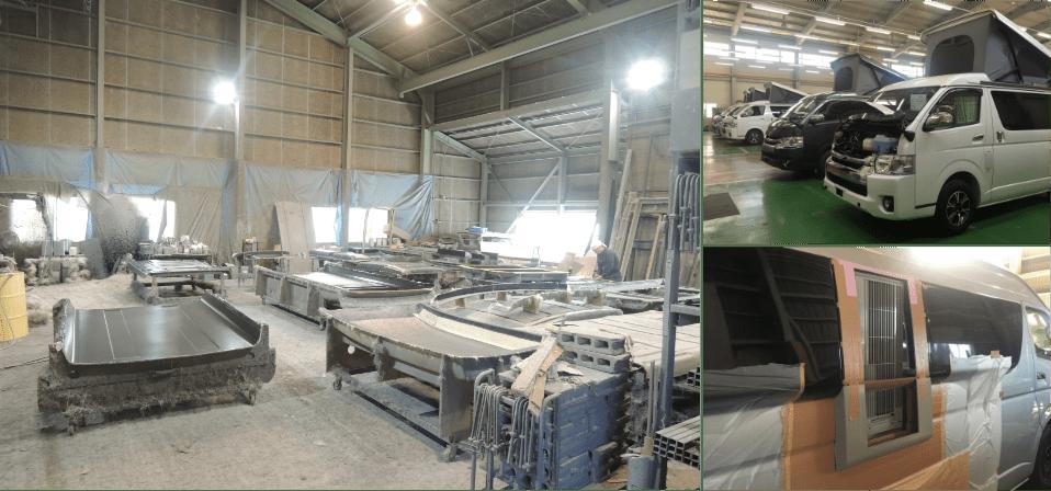 キャンピングカーや特殊車両を開発・量産する製造工場