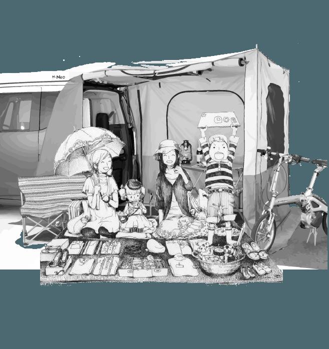 快適なフリマ出店を支えるリアゲートテント